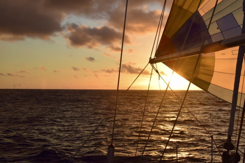 Sunset at the helm