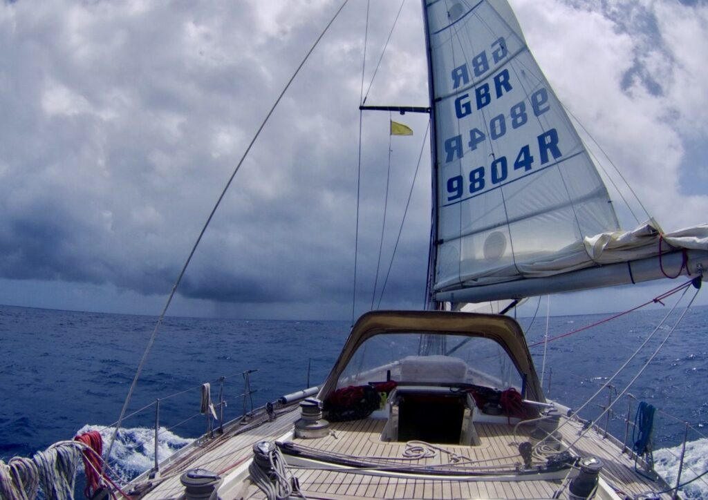 The cold front is approaching and Milanto prepares to enter the monster's mouth with three reefs and a reduced genoa