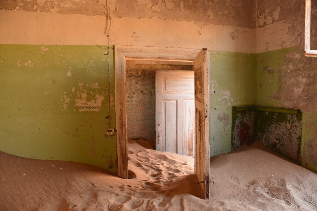 The interior of one of the houses in Kolmanskop